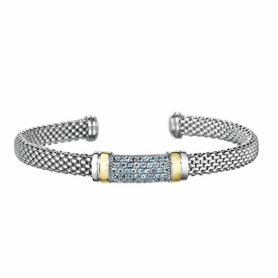Silver and 18kt Gold Popcorn Cuff Bracelet with Blue Topaz