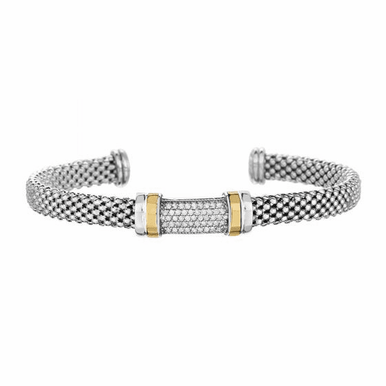 Silver and 18kt Gold Popcorn Cuff Bracelet with Diamonds