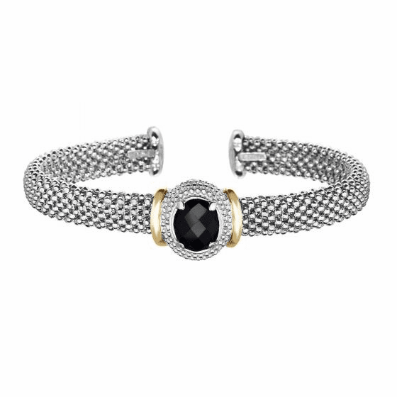 Silver and 18kt Gold Popcorn Cuff Bracelet with Oval Black Onyx