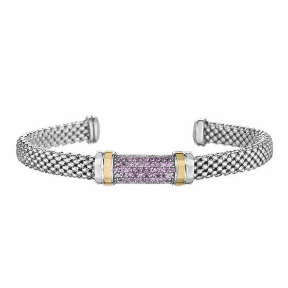 Silver and 18kt Gold Popcorn Cuff Bracelet with Pink Sapphire