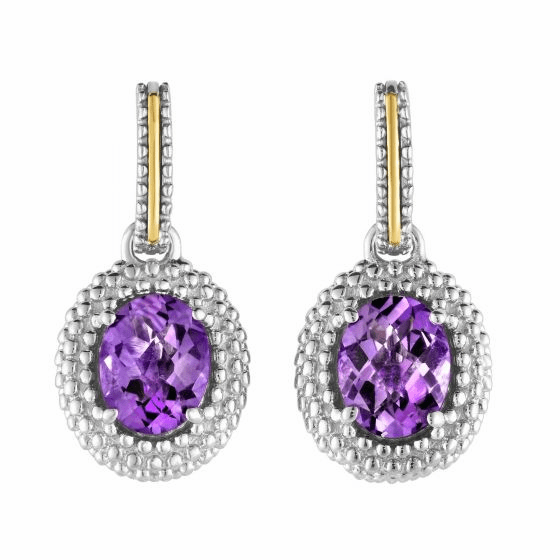 Silver and 18kt Gold Popcorn Drop Earrings with Oval Amethyst