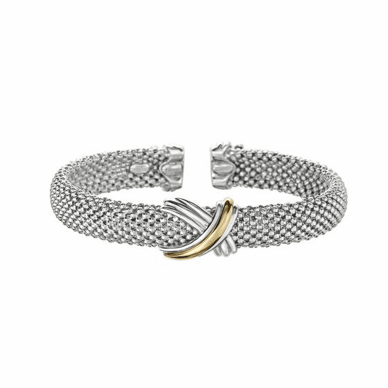 Silver and 18kt Gold Popcorn Mesh Sculpted X Cuff Bracelet