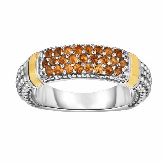 Silver and 18kt Gold Popcorn Ring with Citrine