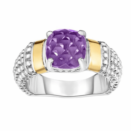 Silver and 18kt Gold Popcorn Ring with Cushion Amethyst