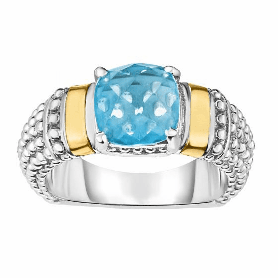Silver and 18kt Gold Popcorn Ring with Cushion Blue Topaz