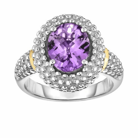 Silver and 18kt Gold Popcorn Ring with Medium Oval Amethyst
