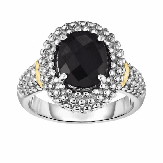 Silver and 18kt Gold Popcorn Ring with Medium Oval Black Onyx