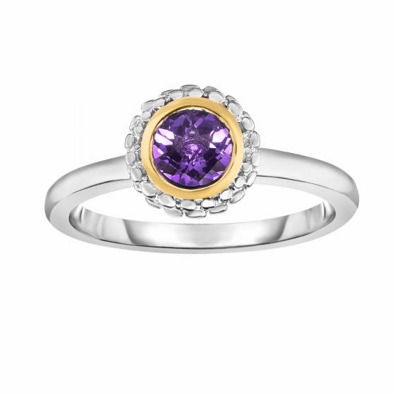Silver and 18kt Gold Popcorn Ring with Round Amethyst