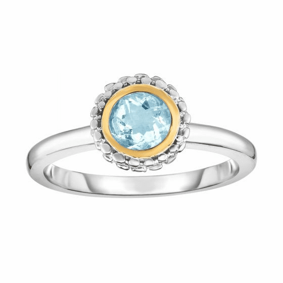 Silver and 18kt Gold Popcorn Ring with Round Aquamarine