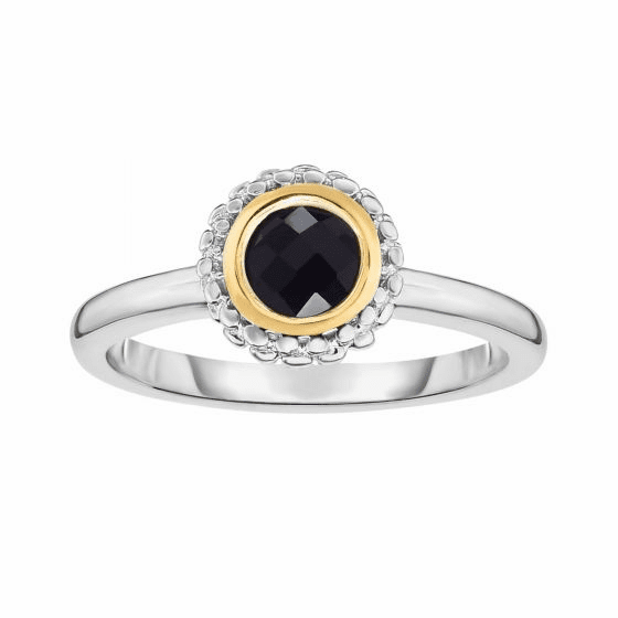 Silver and 18kt Gold Popcorn Ring with Round Black Onyx