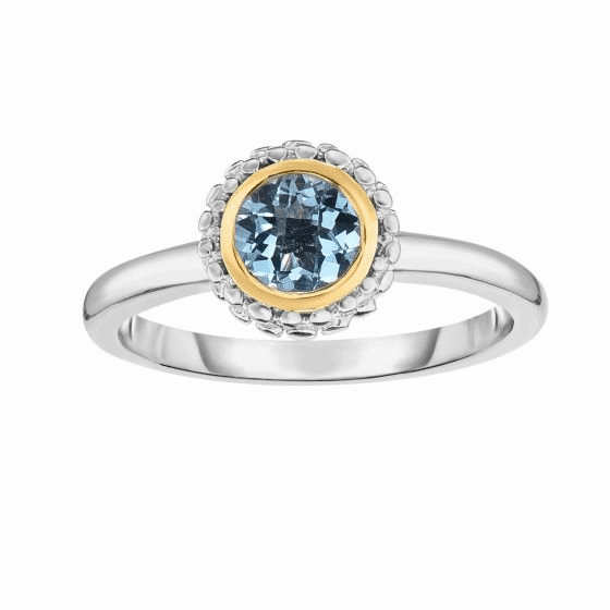 Silver and 18kt Gold Popcorn Ring with Round Blue Topaz