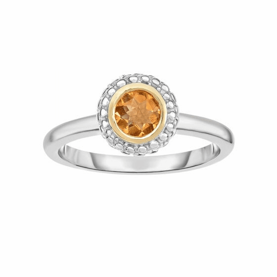 Silver and 18kt Gold Popcorn Ring with Round Citrine