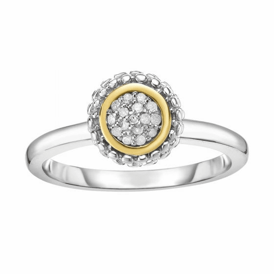 Silver and 18kt Gold Popcorn Ring with Round Diamond