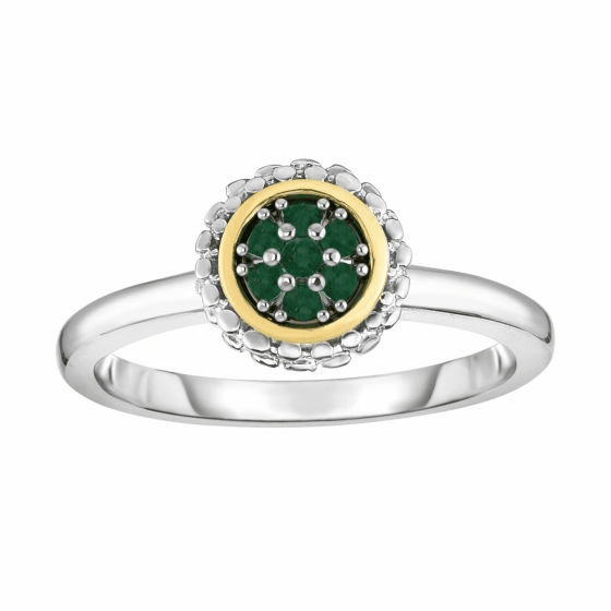 Silver and 18kt Gold Popcorn Ring with Round Emerald