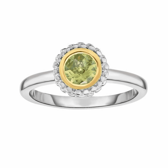 Silver and 18kt Gold Popcorn Ring with Round Peridot