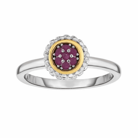 Silver and 18kt Gold Popcorn Ring with Round Ruby