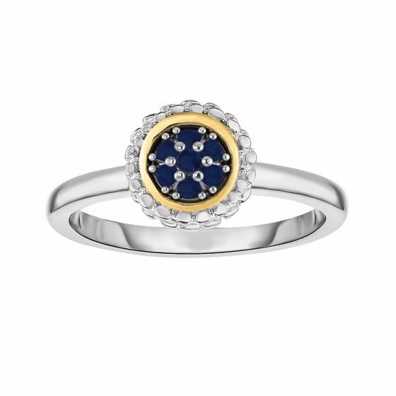 Silver and 18kt Gold Popcorn Ring with Round Sapphire