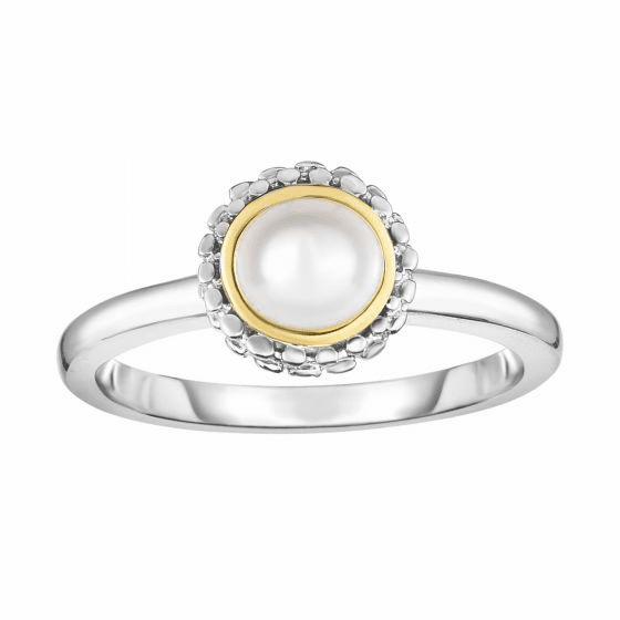 Silver and 18kt Gold Popcorn Ring with Round White Pearl