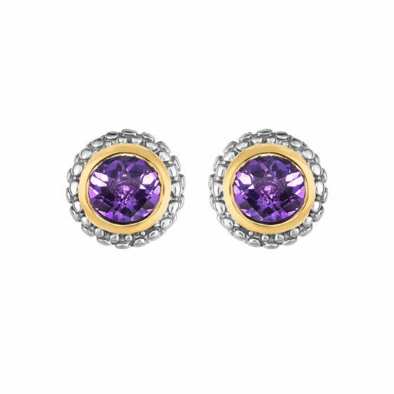 Silver and 18kt Gold Popcorn Stud Earrings with Round Amethyst
