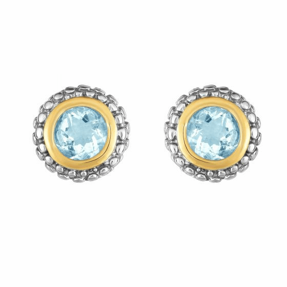 Silver and 18kt Gold Popcorn Stud Earrings with Round Aquamarine