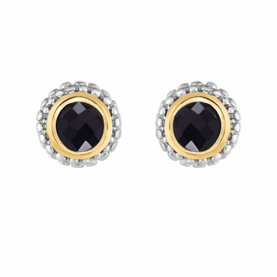 Silver and 18kt Gold Popcorn Stud Earrings with Round Black Onyx