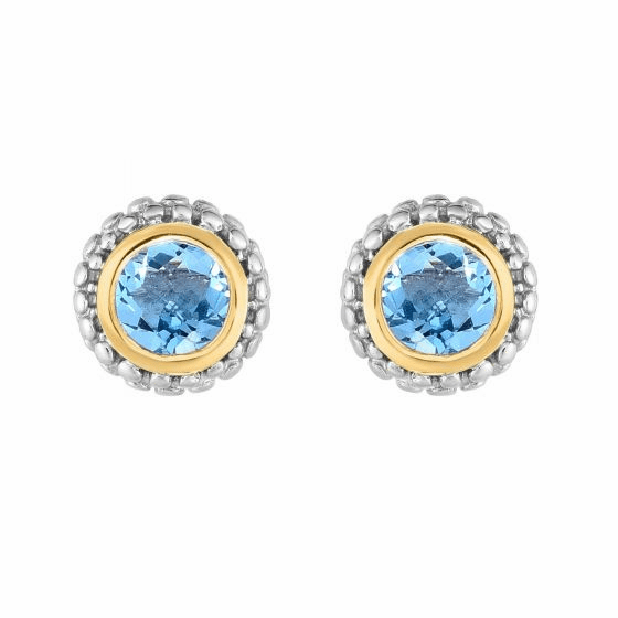 Silver and 18kt Gold Popcorn Stud Earrings with Round Blue Topaz