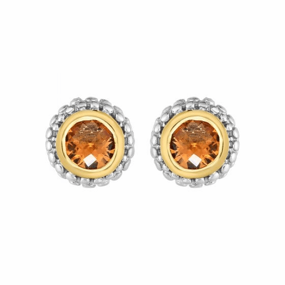 Silver and 18kt Gold Popcorn Stud Earrings with Round Citrine
