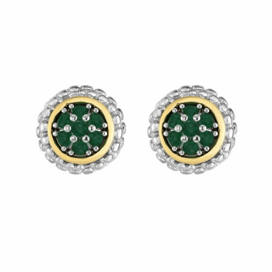 Silver and 18kt Gold Popcorn Stud Earrings with Round Emerald