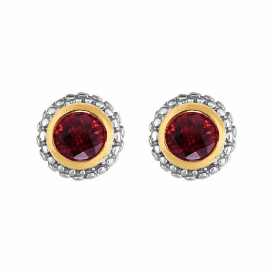 Silver and 18kt Gold Popcorn Stud Earrings with Round Garnet
