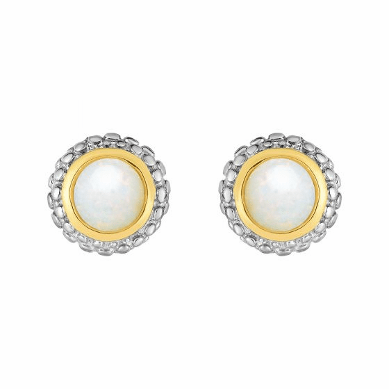 Silver and 18kt Gold Popcorn Stud Earrings with Round Opal