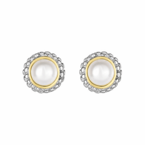 Silver and 18kt Gold Popcorn Stud Earrings with Round Pearl