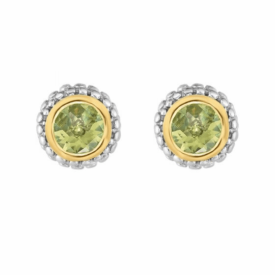 Silver and 18kt Gold Popcorn Stud Earrings with Round Peridot