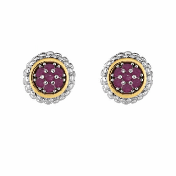 Silver and 18kt Gold Popcorn Stud Earrings with Round Ruby