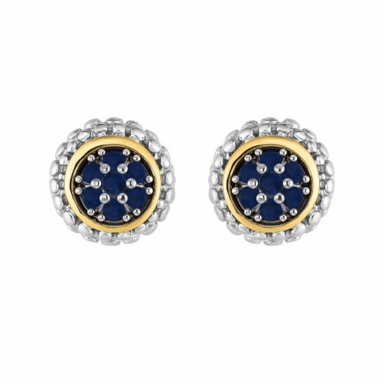 Silver and 18kt Gold Popcorn Stud Earrings with Round Sapphire