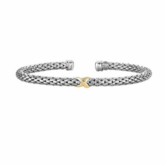"Silver and 18kt Gold Popcorn ""X"" Bangle"