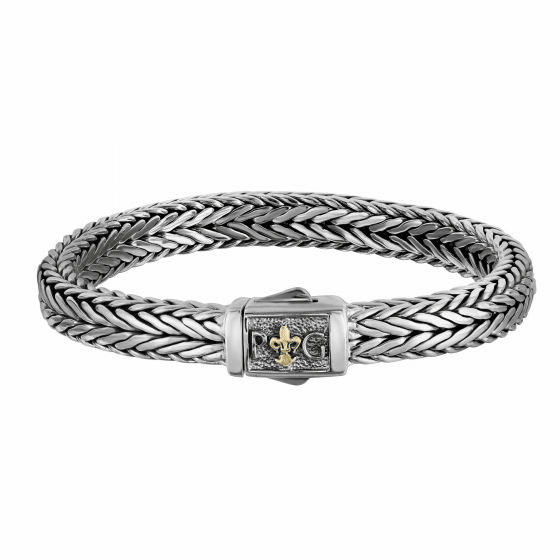 Silver and 18kt Gold Rhodium Finish Woven Bracelet with Box Clasp