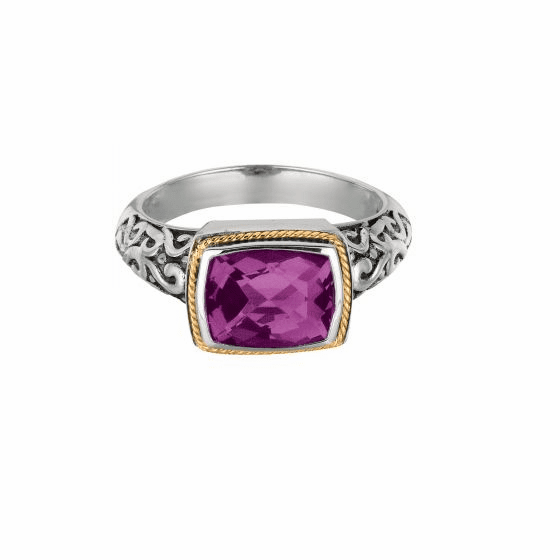 Silver and 18kt Gold Square Byzantine Ring with Amethyst