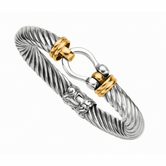 Silver and 18kt Gold Textured Italian Cable Bracelet with Hook Clasp