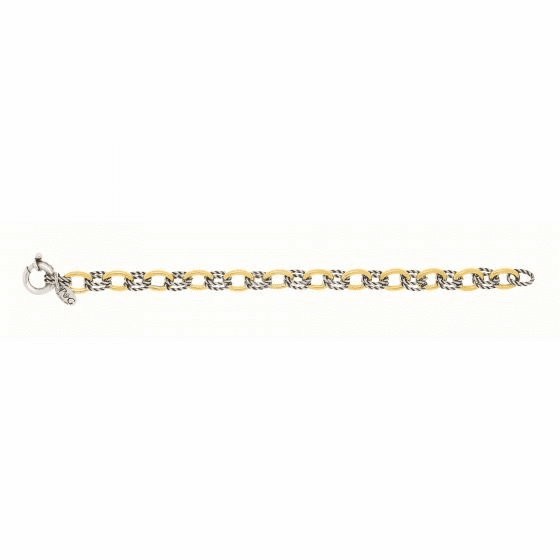 Silver and 18kt Gold Textured Oval Links Italian Cable Bracelet
