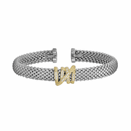 Silver and 18kt Gold Textured Popcorn Tally Cuff Bangle with Diamond