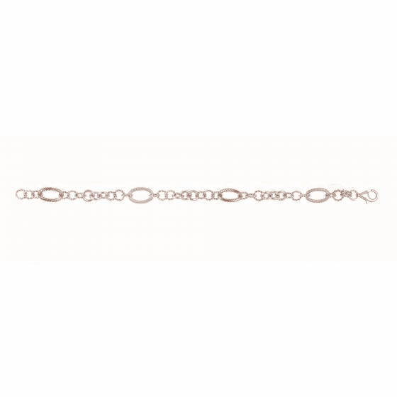 Silver and 18kt Rose Gold Italian Cable Link Bracelet