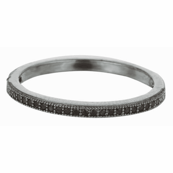Silver / Black 1.5mm Shiny Band Type Size 6 Stackable Black CZ Ring