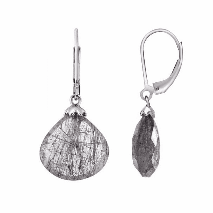 Silver/Black Faceted Black Rutile Teardrop Fancy Leverback Earring