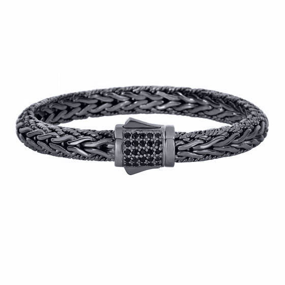 Silver Black Rhodium Black Sapphires Woven Bracelet with Box Clasp