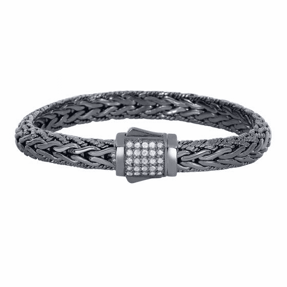 Silver Black Rhodium White Sapphires Woven Bracelet with Box Clasp