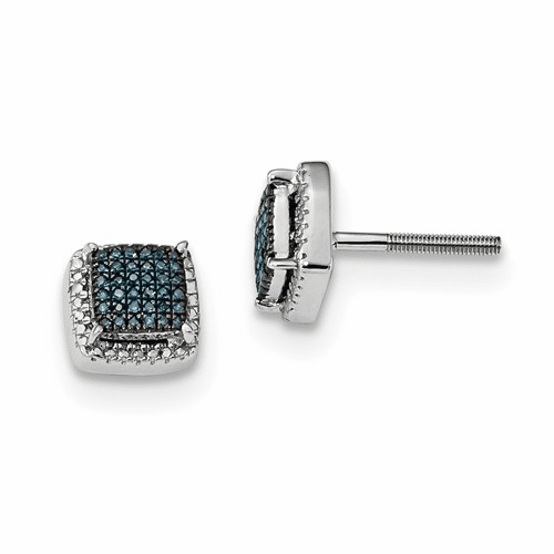 Silver Blue And White Diamond Square Screwback Earrings