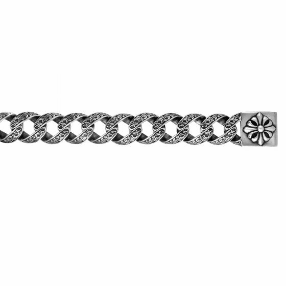 Silver Bold Oval Link Bracelet with Engraved Box Clasp