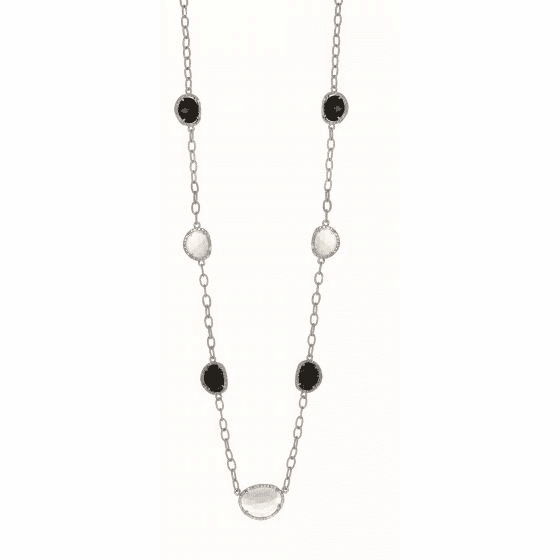 Silver Candy Oval Link 26 In Diamonds, Moonstone & Black Onyx Necklace