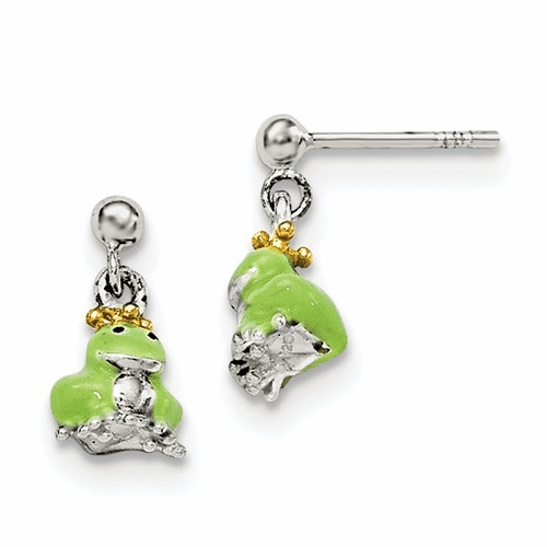 Silver Children's Gold-plated/enameled Prince Frog Earrings
