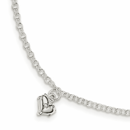 Silver Children's Polished Heart W/1.5in Ext. Bracelet